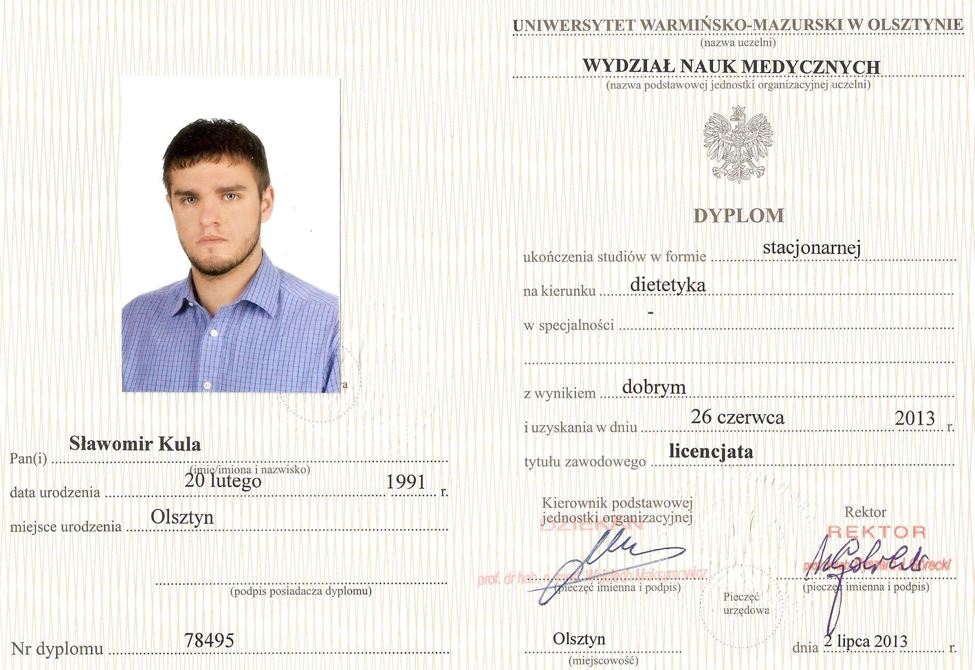 Sławomir Kula - Dietetyk Poznań - Dyplom Licencjata Dietetyki