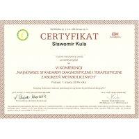 Sławomir Kula - Dietetyk Poznań - Certyfikat Konferencja Najnowsze standardy diagnostyczne i terapeutyczne zaburzeń metabolicznych