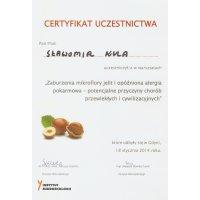 Sławomir Kula - Dietetyk Poznań - Certyfikat Warsztaty Zaburzona Mikroflora Jelit