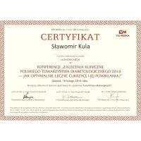 Sławomir Kula - Dietetyk Poznań - Certyfikat Konferencja Jak Optymalnie Leczyć Cukrzycę i Jej Powikłania 2014