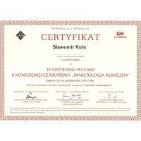 Sławomir Kula - Dietetyk Poznań - Certyfikat Konferencja IV Spotkanie Po EASD
