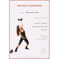 Sławomir Kula - Dietetyk Poznań - Certyfikat Konferencja Żywienie w Sporcie i Rekreacyjnej Aktywności Fizycznej