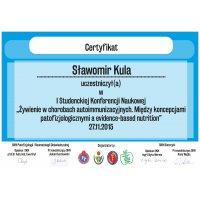 Sławomir Kula - Dietetyk Poznań - Certyfikat Konferencja Choroby Autoimmunizacyjne